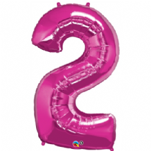 "Pink Number 2 Balloon - Foil Number Balloon 1pc (34"" Qualatex)"